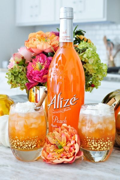 Peach cobbler fall cocktail using Alize