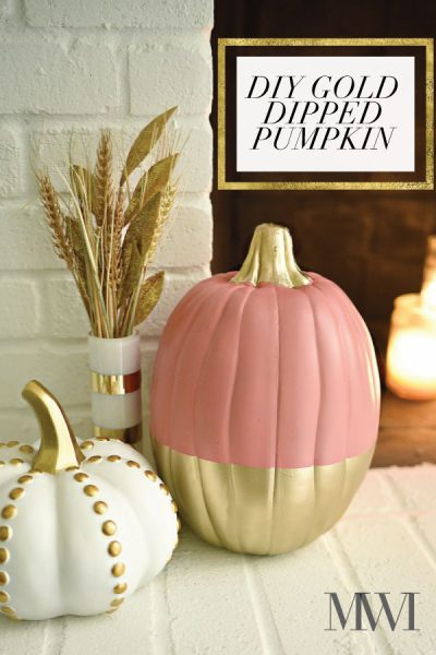 DIY coral and gold dipped pumpkin tutorial using spray paint