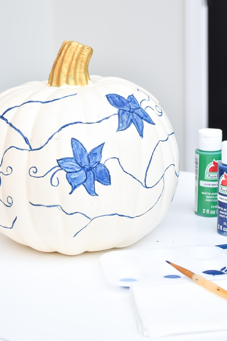 DIY acrylic painted floral pumpkin chinoiserie style