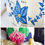 Painted blue and white fall pumpkin craft