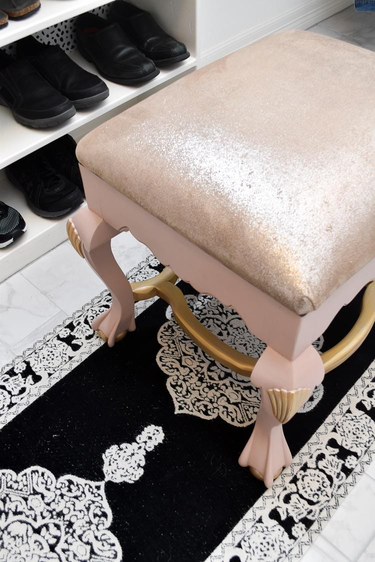 Blush and gold DIY ottoman stool