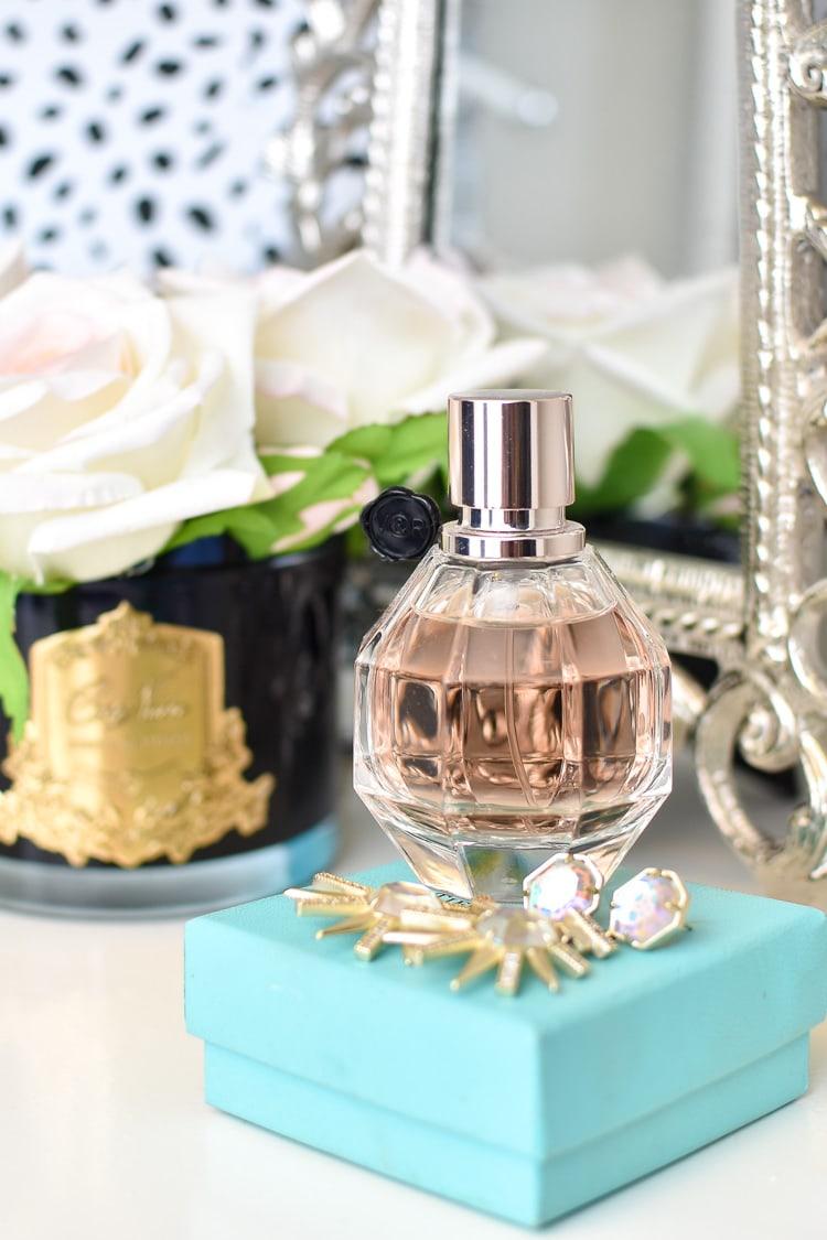 Perfume bottle on vanity in closet