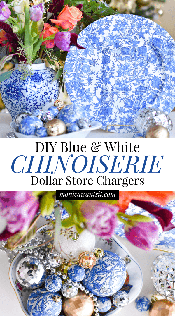 A how to tutorial for creating affordable, budget friendly blue and white chinoiserie chargers inspired by Blue Willow China. Gorgeous!  #christmasdecor #christmasdecorationideas #christmascrafts #christmasdecorations #christmasdecorationsDIY #chinoiserie #chinoiseriechic #christmasdecorating #holidaydecor #holidayseason #holidaydecorations #holidaycrafts #DIY  #DIYHomeDecor #diycrafts