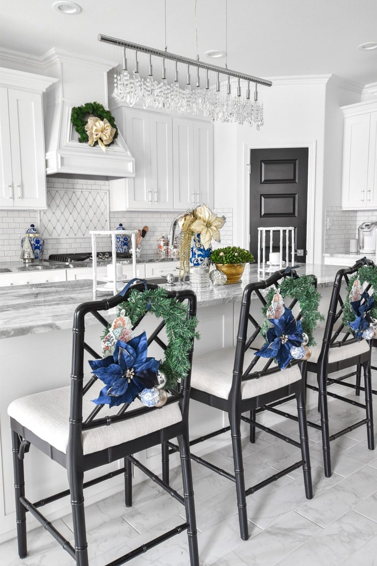 Blue and white kitchen decor Christmas chair wreaths