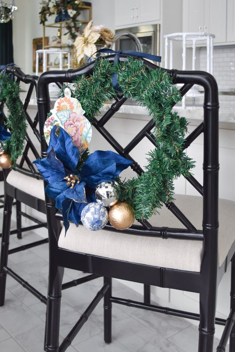 Chinoiserie mini chair wreath for holiday decor