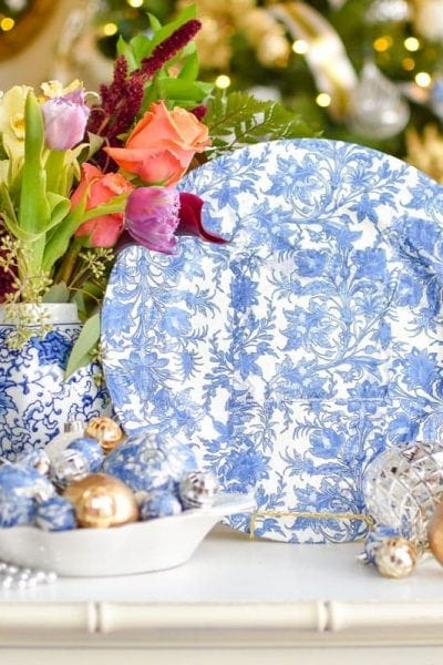 DIY chinoiserie blue and white chargers