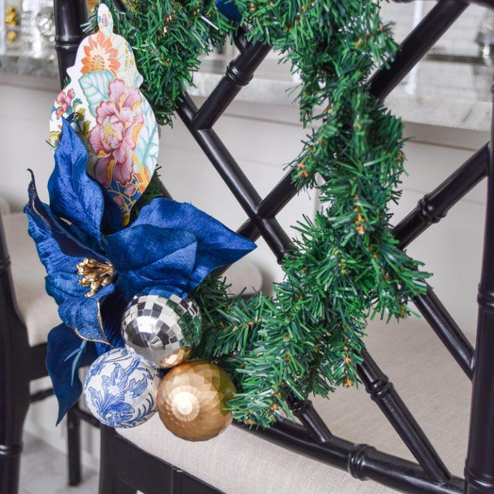 DIY Christmas dining chair wreath decor