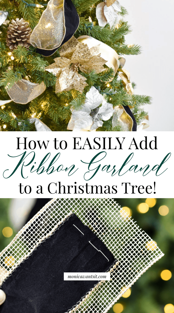 How to easily add ribbon to a Christmas tree tutorial