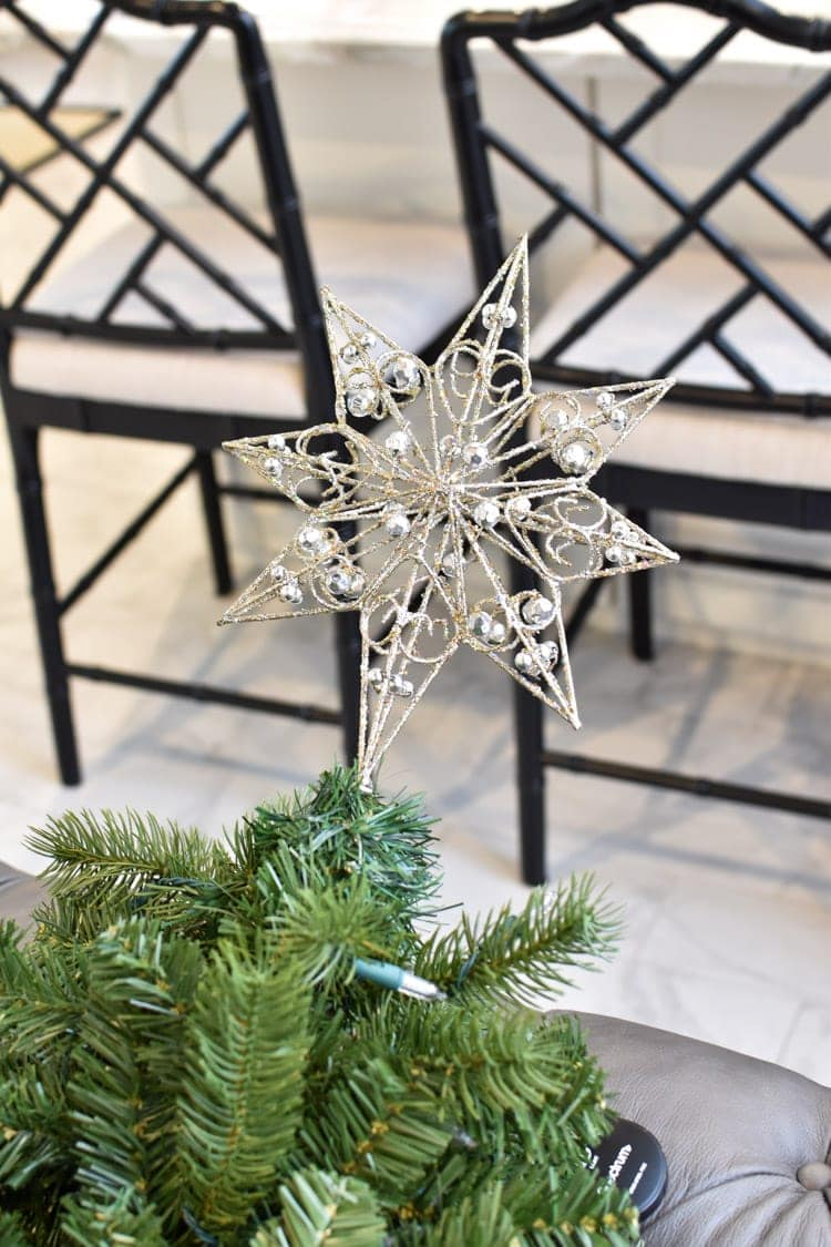 Christmas tree topper on a tree