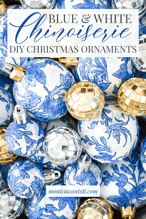 Blue and white chinoiserie ornaments
