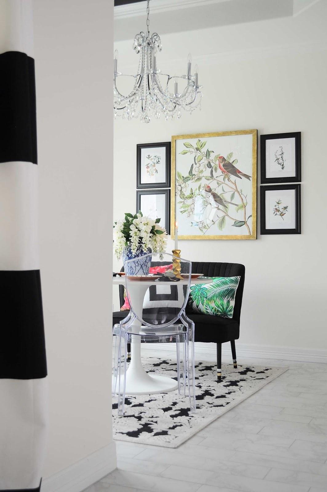 Black, white, botanical and Audubon dining room makeover