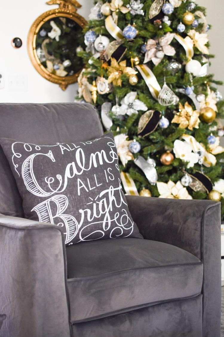 Gray velvet recliner