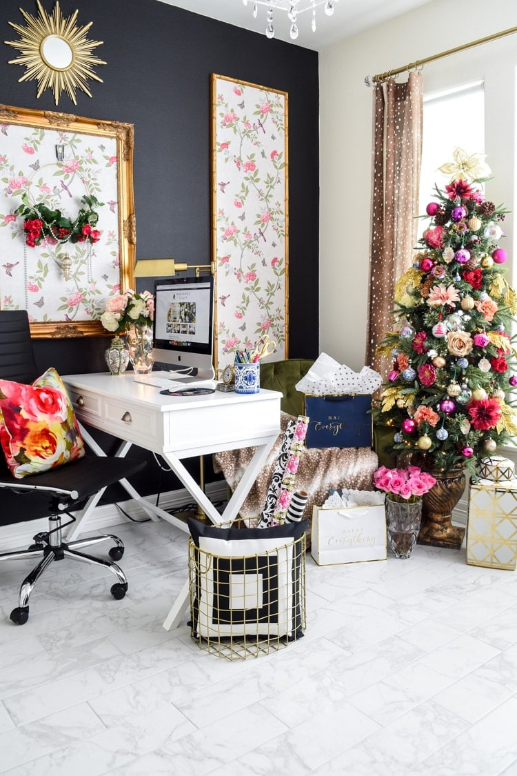 Home office colorful pink gold Christmas decorations