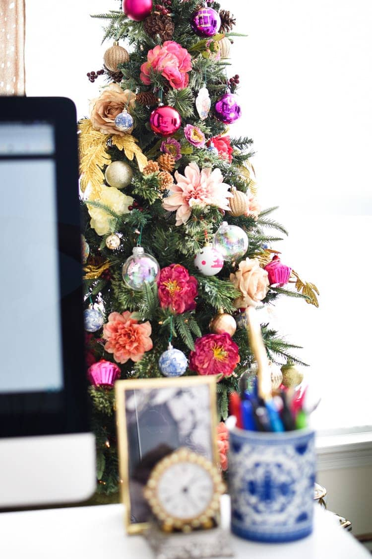 Christmas decoration in a home office