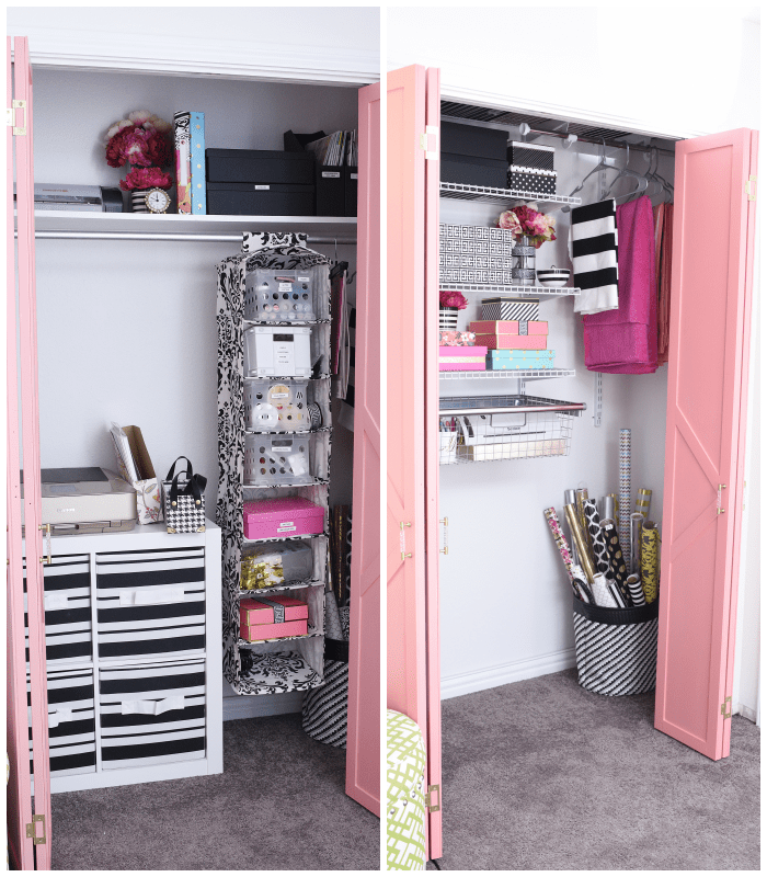 DIY closet system for a home office or craft room