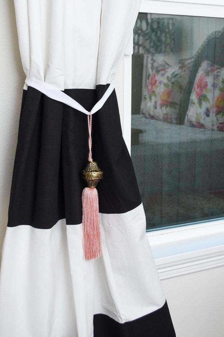 Black white striped curtains