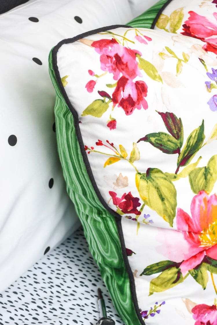 Loom Decor custom pillow in honeysuckle and malachite