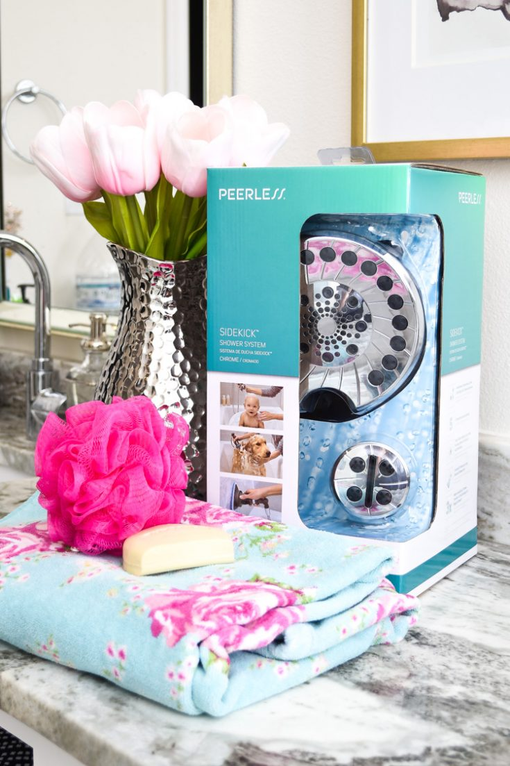 Peerless SideKick Shower System DIY Installation Tutorial & Review: a multi-purpose shower head that has extra attachments to help you wash your babies and pets AND scrub your tubs, floors or tile.  #masterbath #masterbathroom #bathroom #bathroomideas #bathroomdesign #bathroomdecor #bathroomdecorideas #bathroomdesignideas #bathroomdecorating #whitebathrooms