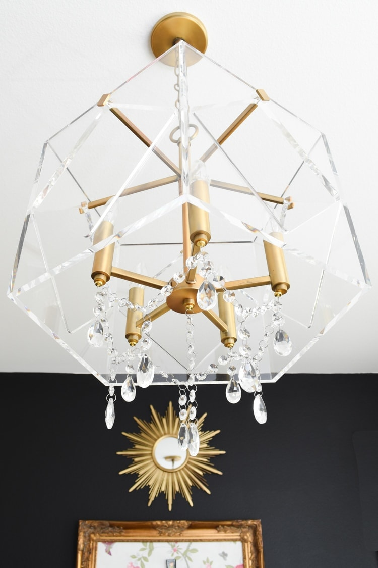 Lucite chandelier with crystals