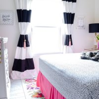 Black And Off White Horizontal Stripe Curtains