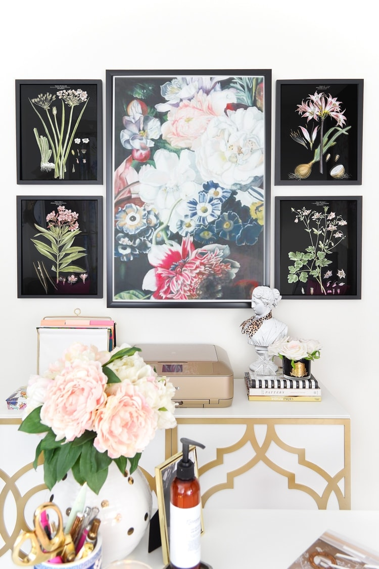 Floral gallery wall in a home office