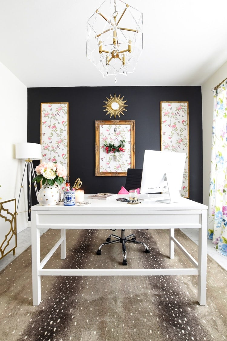 Home office decor with antelope print rug