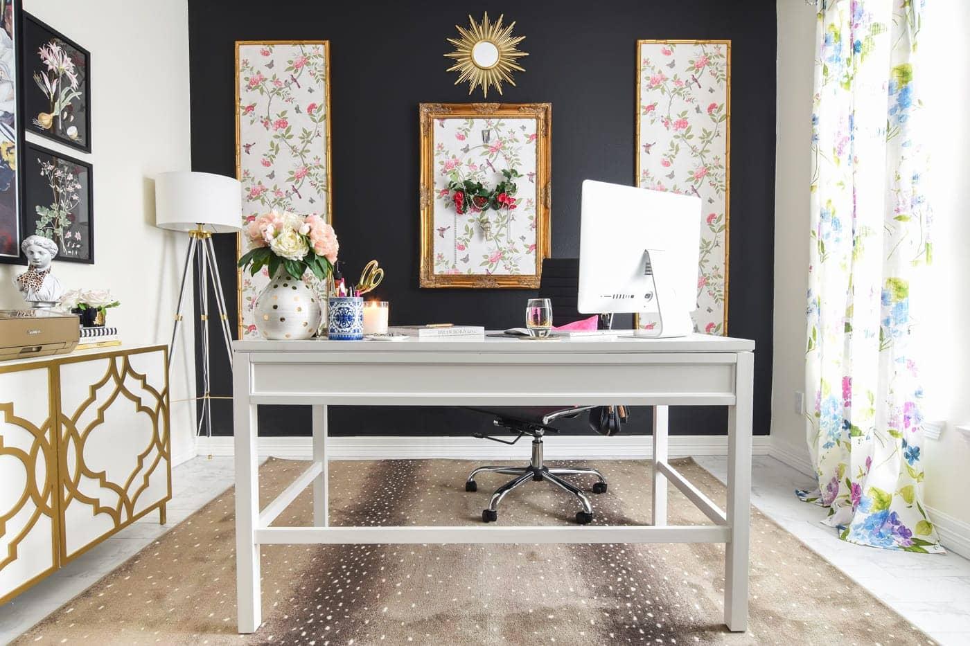 Karastan antelope rug in taupe in a home office
