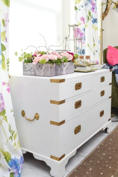 Painted vintage campaign chest DIY tutorial