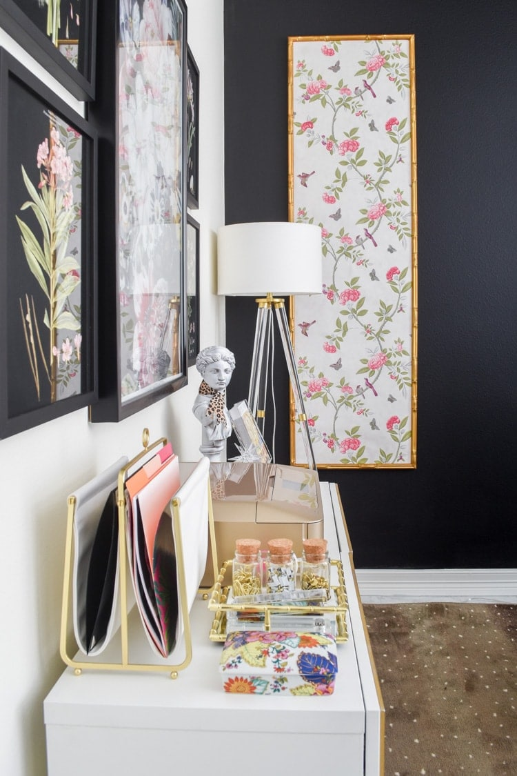 Gorgeous home office with DIY chinoiserie wallpaper panels, black accent wall, white walls, DIY IKEA Besta Hack and glam home decor accents.