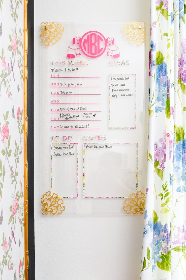 DIY lucite memo board using a cricut maker