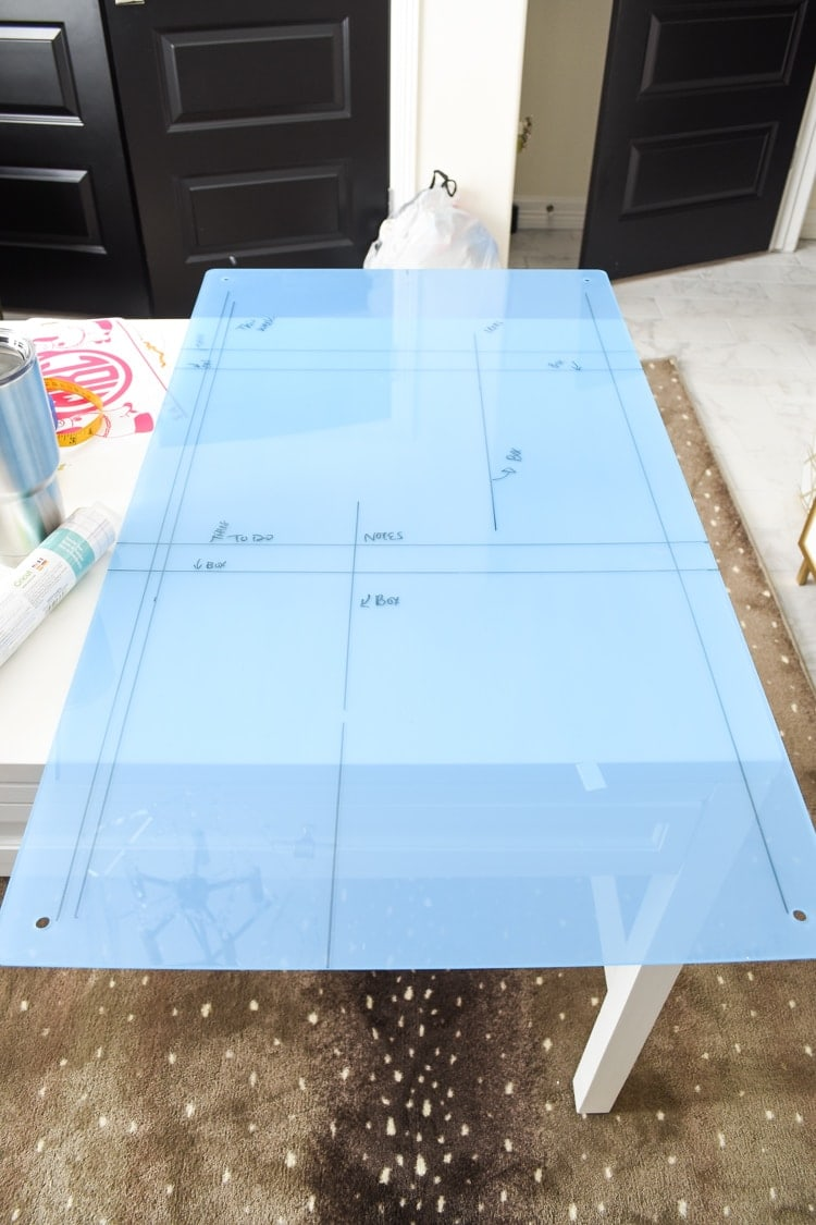 DIY tutorial for an acrylic memo board for a home office