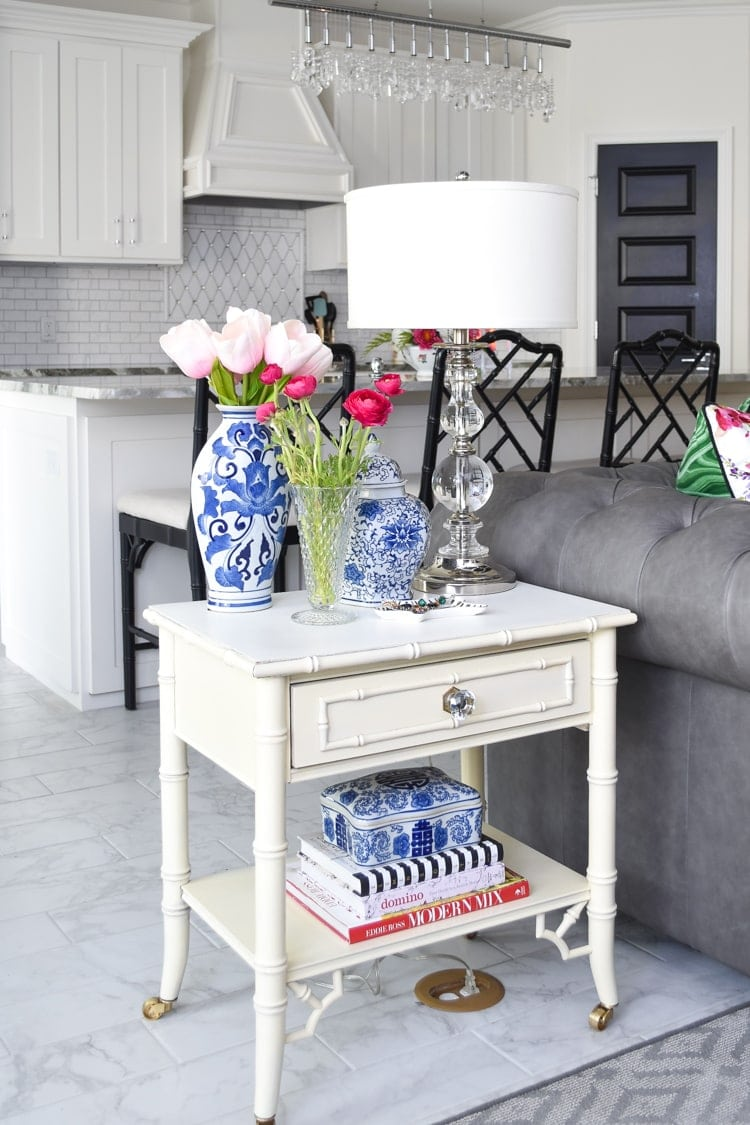 Bamboo chinoiserie end table ideas