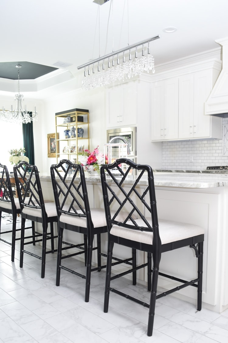 Chippendale chairs around a kitchen island