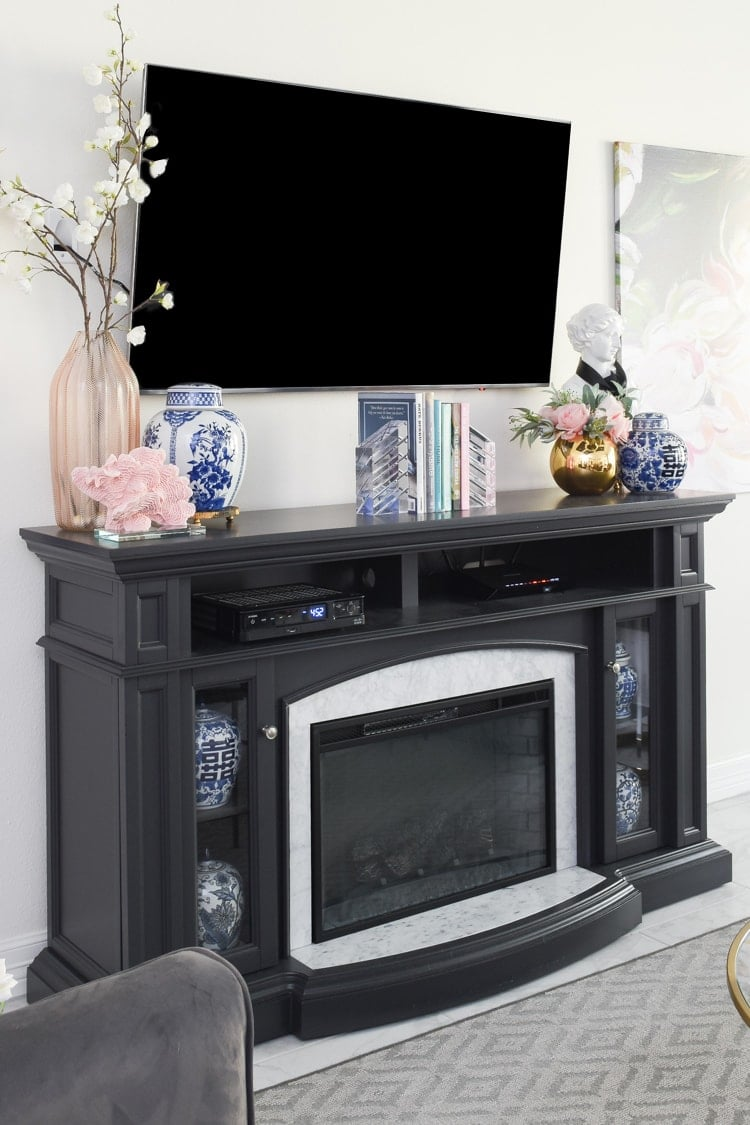 Spring decor for a mantel with a TV