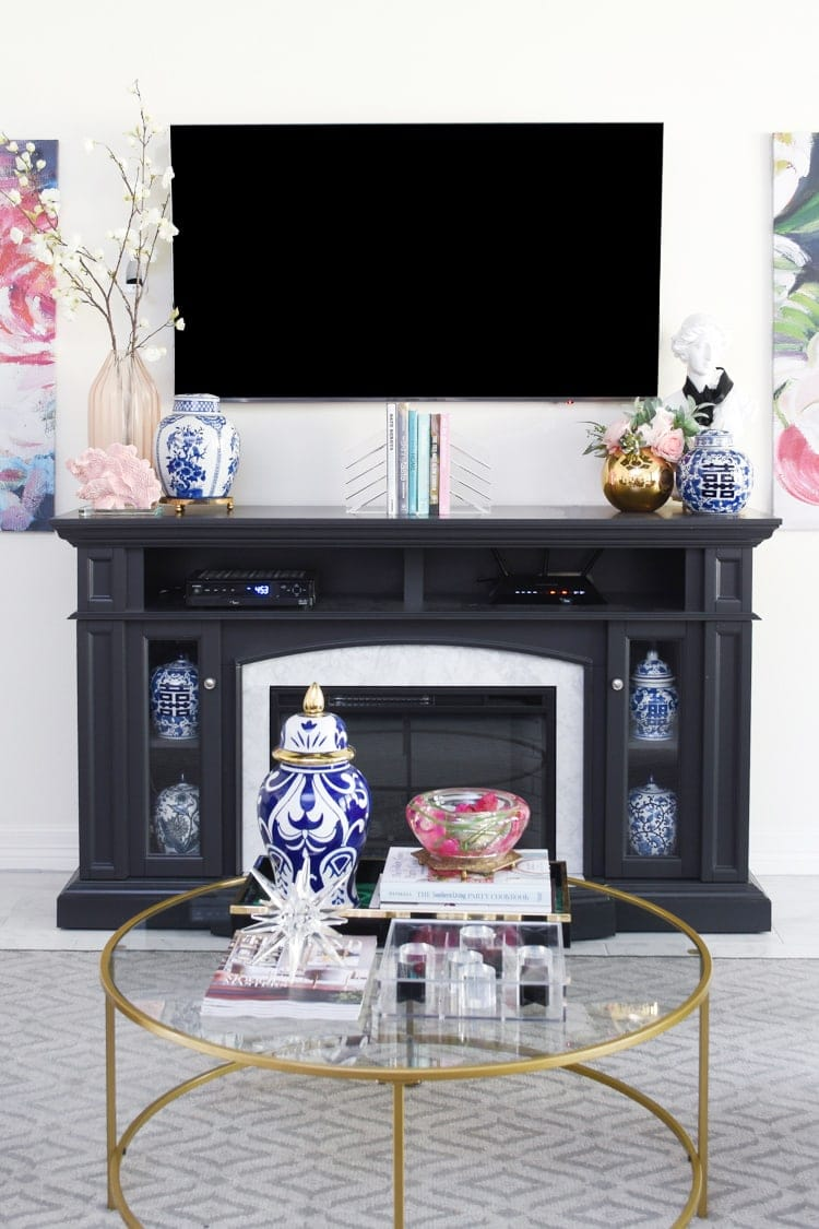 Fireplace mantel decor for spring