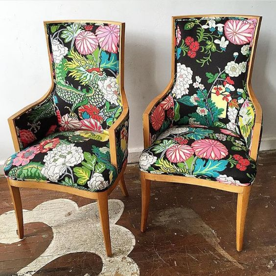 Black Chiang Mai Fabric Dining Chairs