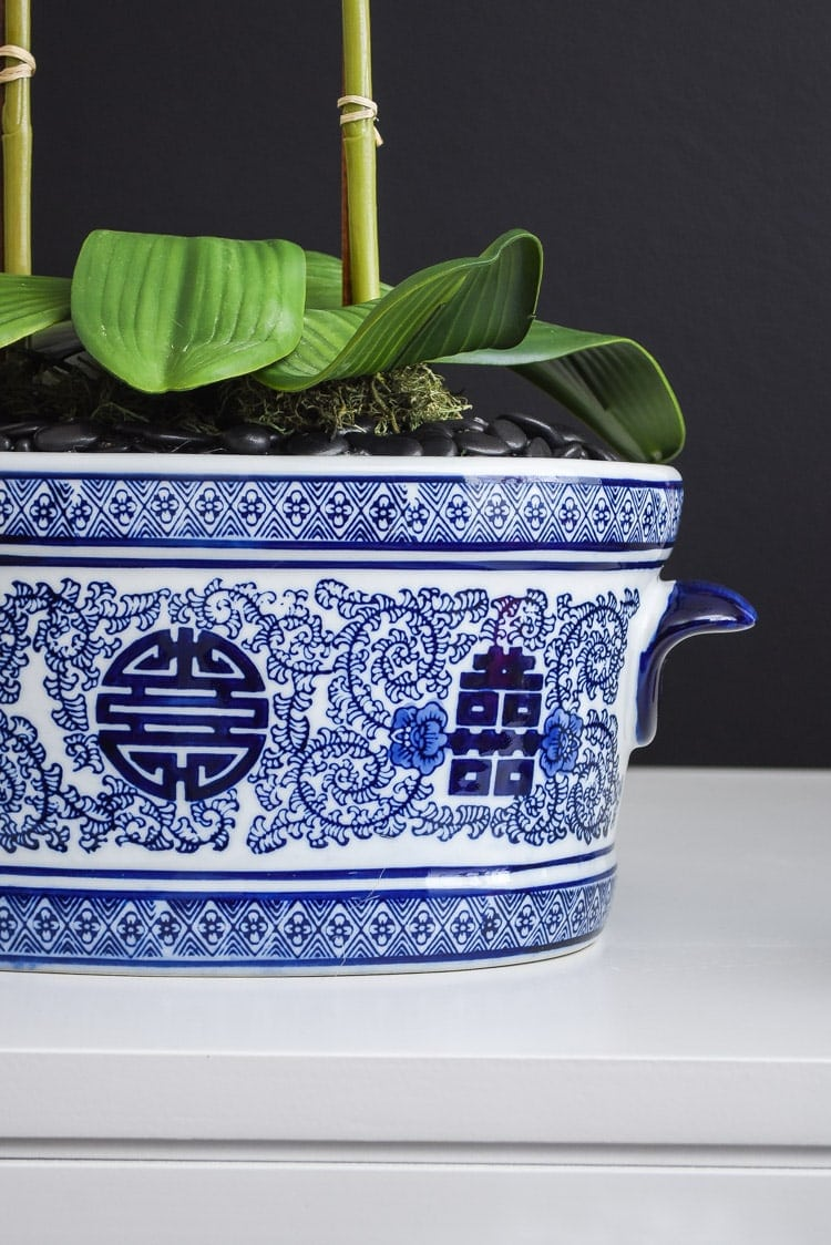 Blue and white chinoiserie foot bath planter
