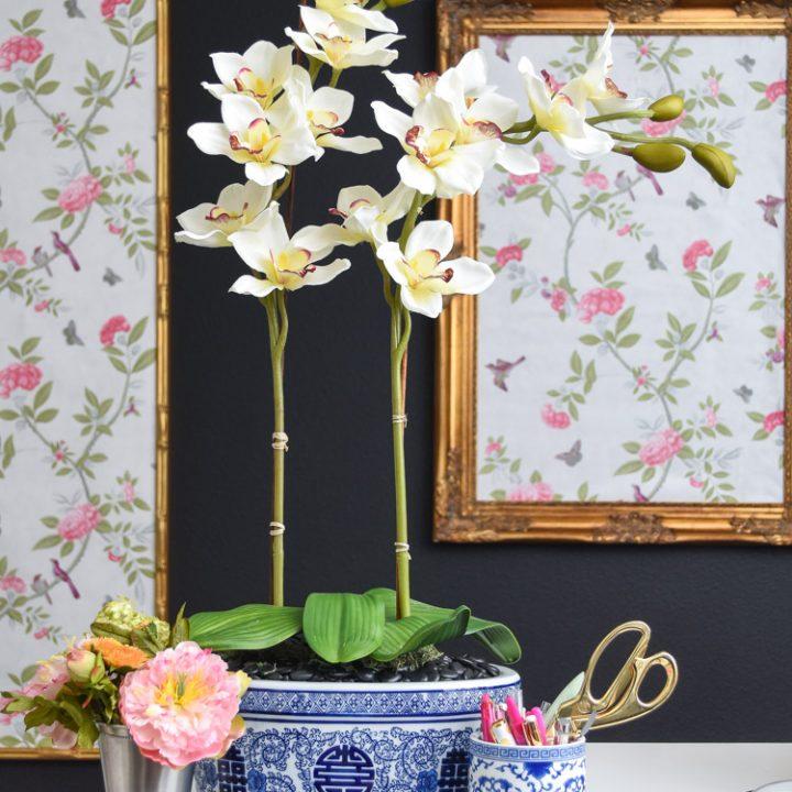 DIY artificial orchid arrangement