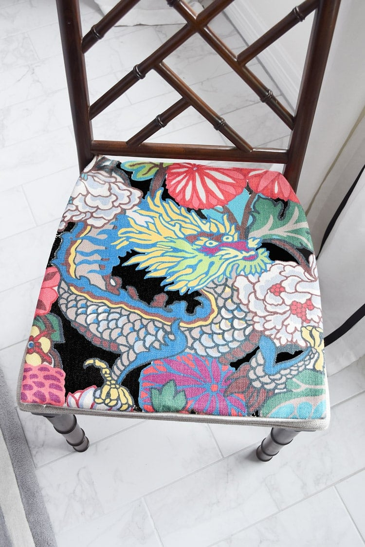 Chippendale chairs with chiang mai dragon fabric