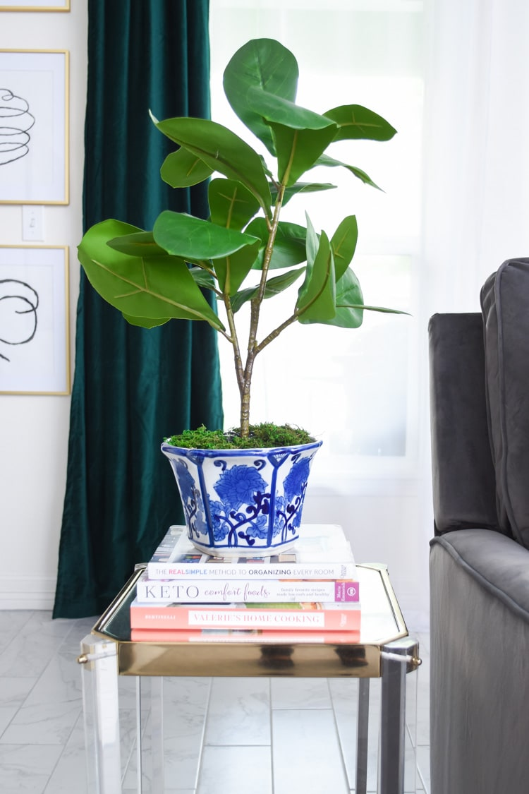Faux fiddle leaf plant DIY tutorial using mostly dollar store materials