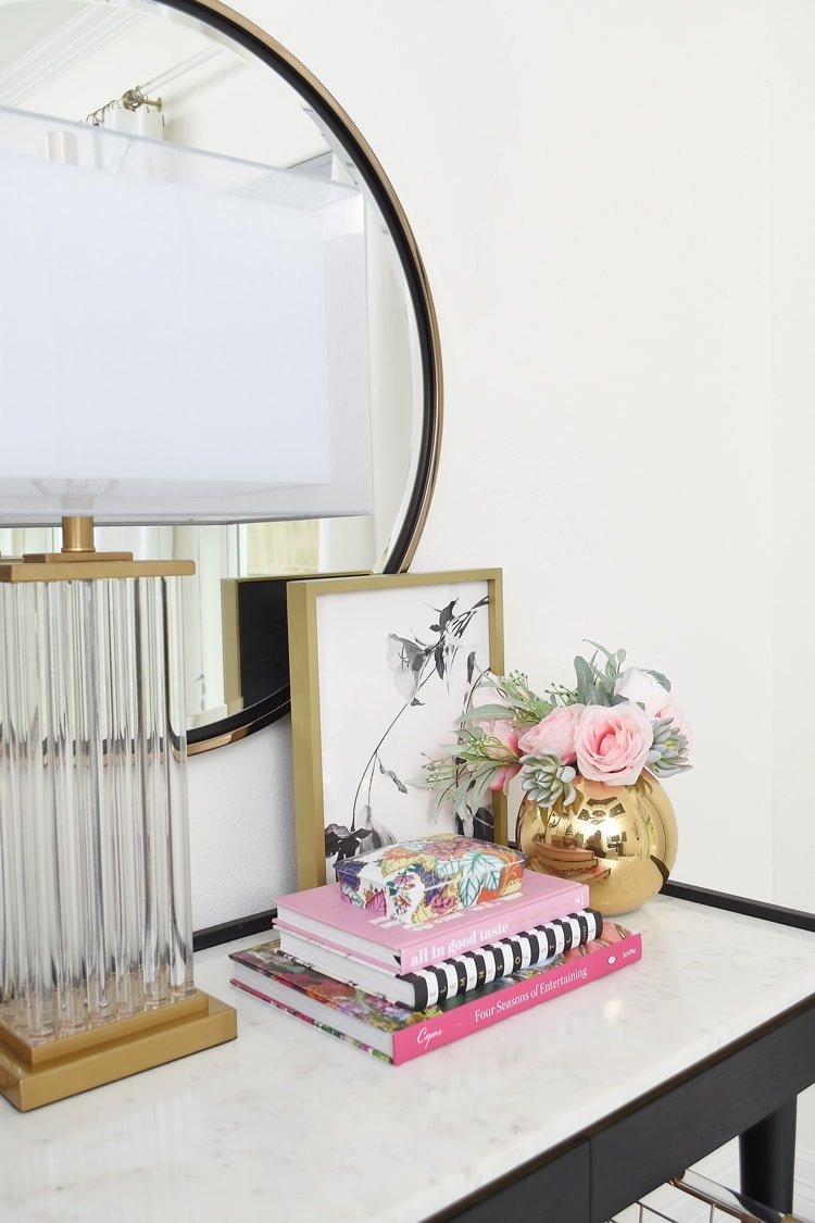 Desk as a Nightstand- Black and Marble