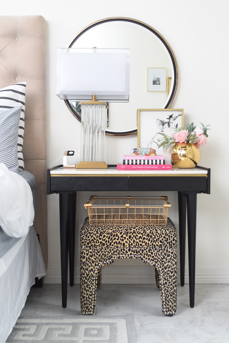 Marble Axton Desk as a Nightstand