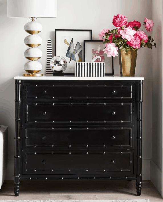 Black bamboo and marble dresser