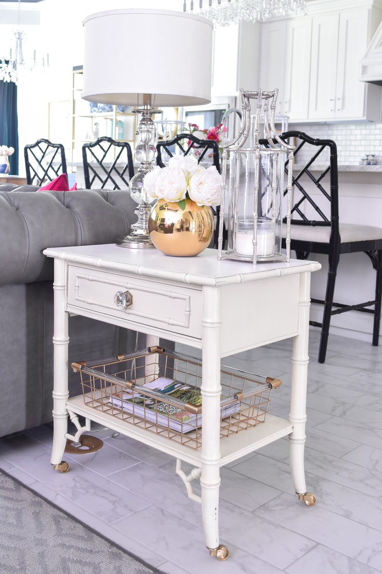 White bamboo end table with pagoda lantern