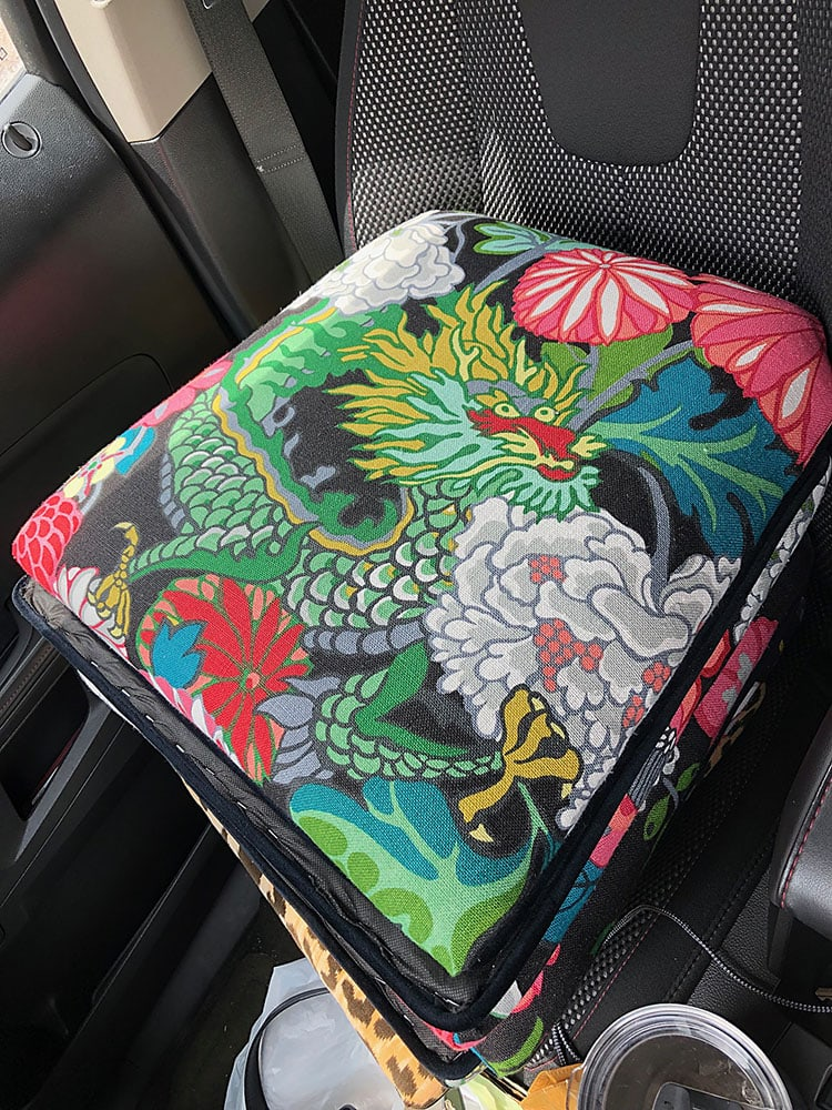 Dining chair cushions upholstered in Chiang Mai Dragon Fabric
