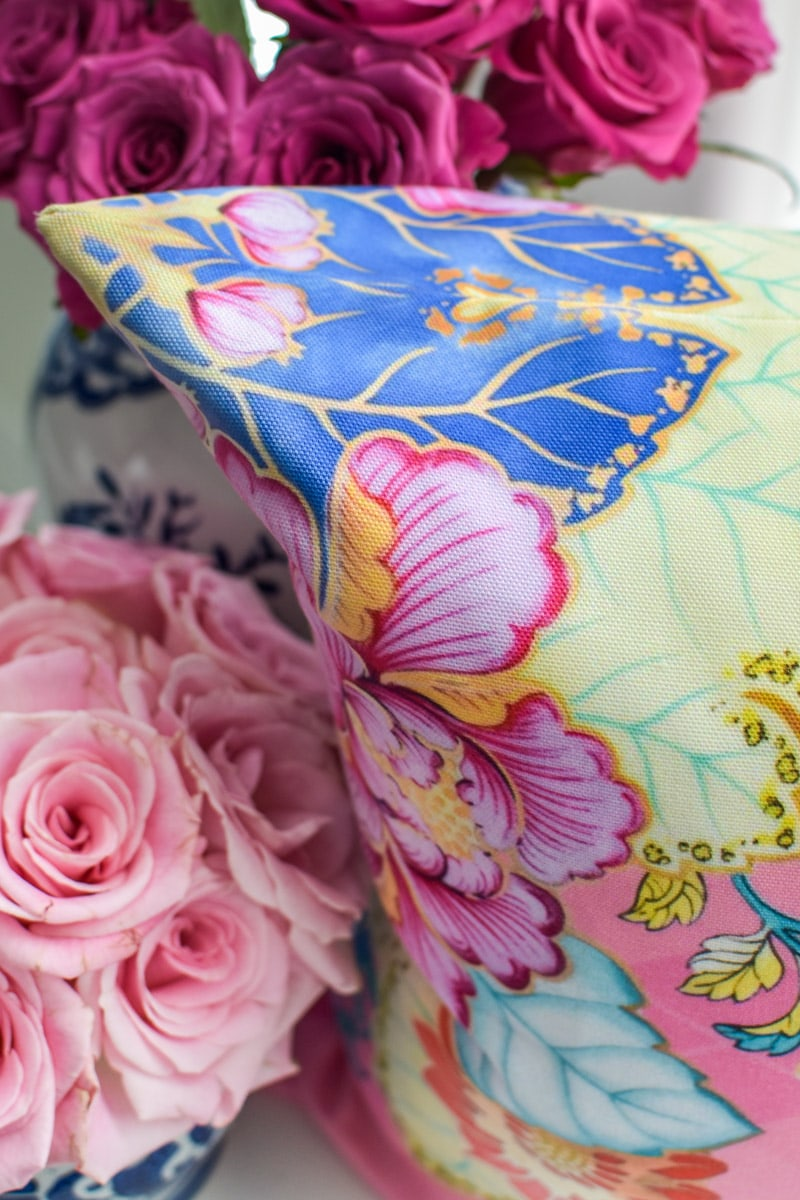 Chinoiserie tobacco leaf throw pillow cover with pink and argyle florals