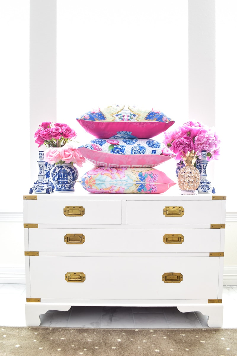 Chinoiserie throw pillow covers pink, blue and white china and florals