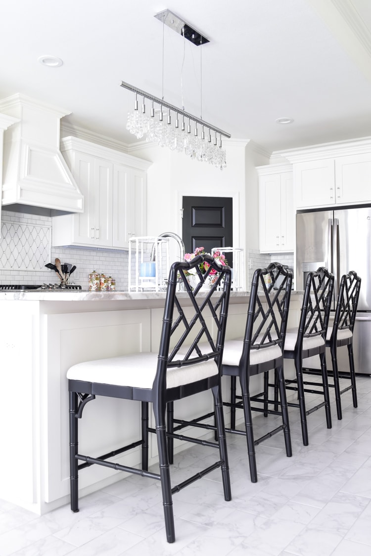 White kitchen with black dayna barstools