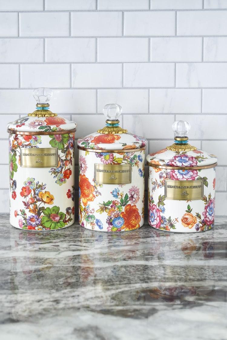 Mackenzie childs flower market kitchen canister set