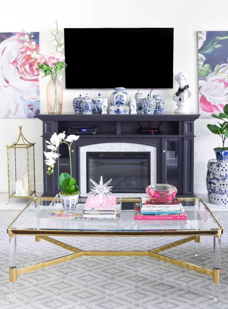Chinoiserie fireplace and coffee table decor for summer